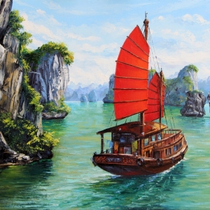 'Sailing Ha Long Bay' By Graham Denison. SOLD