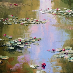 'Lilies On Turtle Pond' by Graham Denison. SOLD