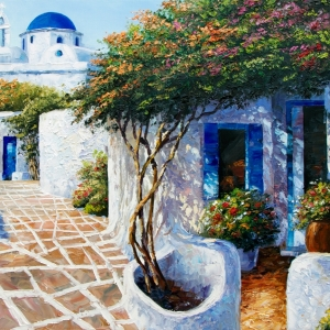 'April In Santorini' by Graham Denison. SOLD