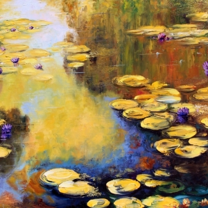 'Golden Water Lilies' by Graham Denison. SOLD