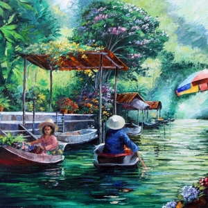 'Bangkok River Market'By Graham Denison. SOLD