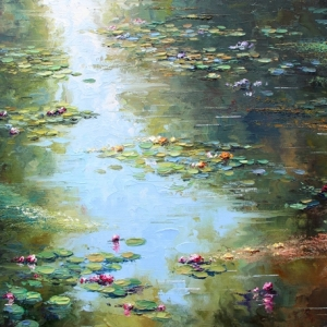 On The Lake In Giverny. By Graham Denison. SOLD