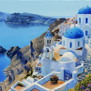'A Stroll In Santorini' by Graham Denison. Original SOLD