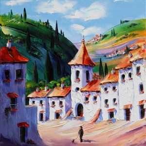 'White Village' by Graham Denison. Original SOLD