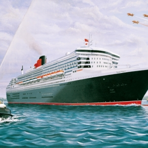 'Awaiting The Queen' (QM2) by Graham Denison. Original available