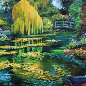 'Monet's Boat in Giverny' By Graham Denison. Original SOLD