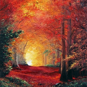 'Forest Trail In Fall' By Graham Denison. SOLD