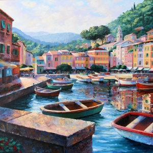 'A Stroll In Portofino' By Graham Denison. SOLD