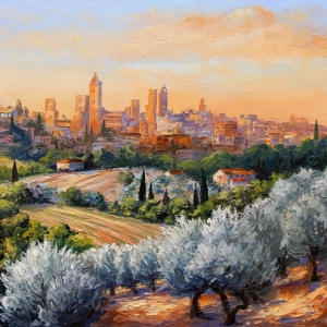 San Gimignano Sunset. By Graham Denison. SOLD