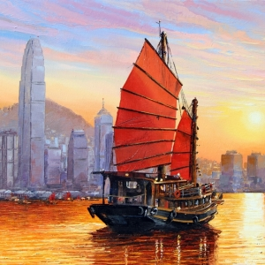 'Hong Kong Sunset' By Graham Denison. SOLD