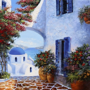 Pathway To Santorini. By Graham Denison. SOLD
